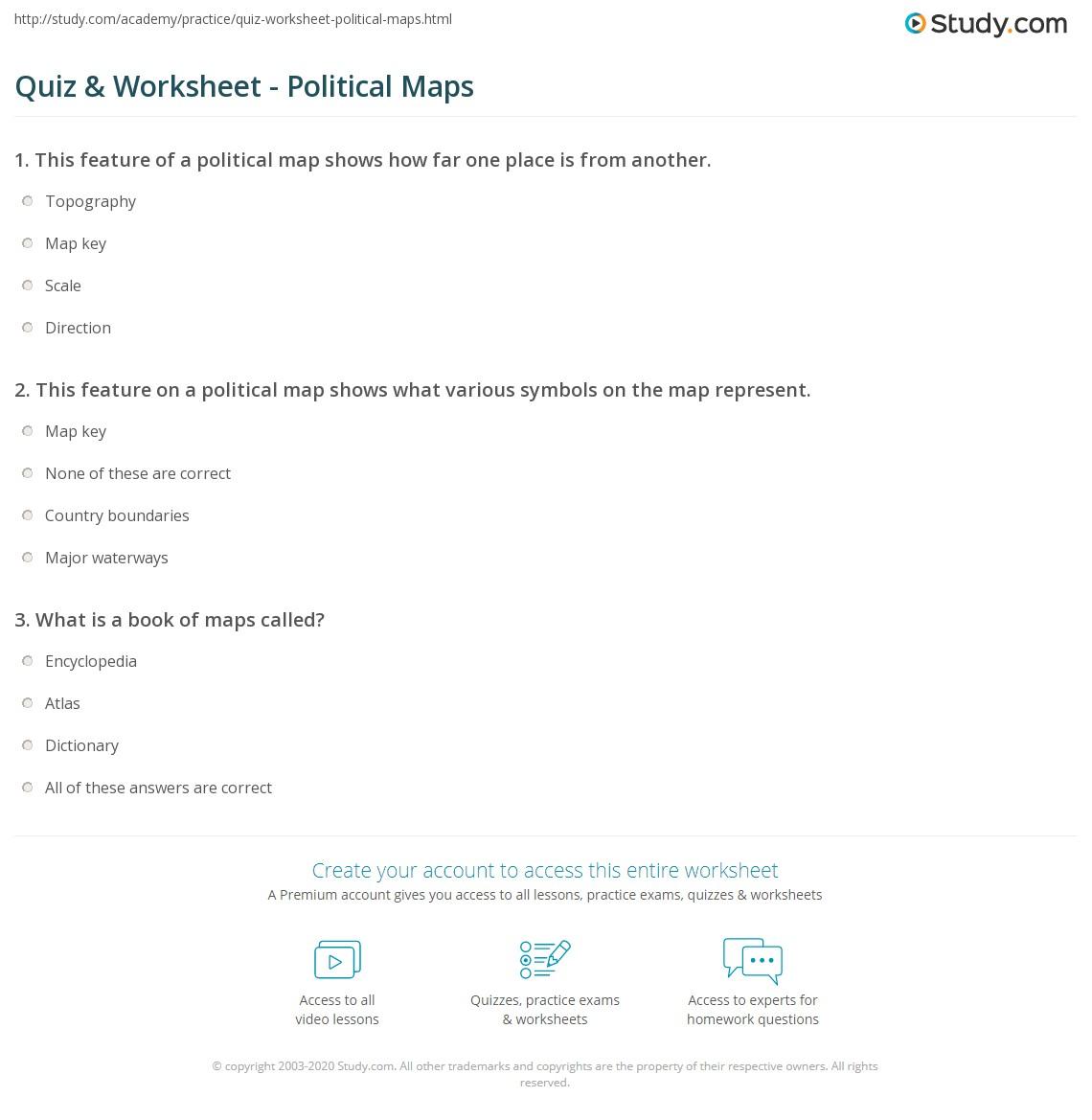 Political Map Worksheet.Quiz Worksheet Political Maps Study Com