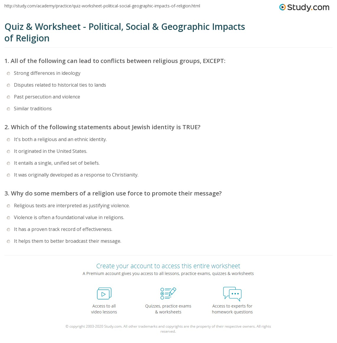 Print Geography of Religion: Political \u0026 Social Impacts Worksheet