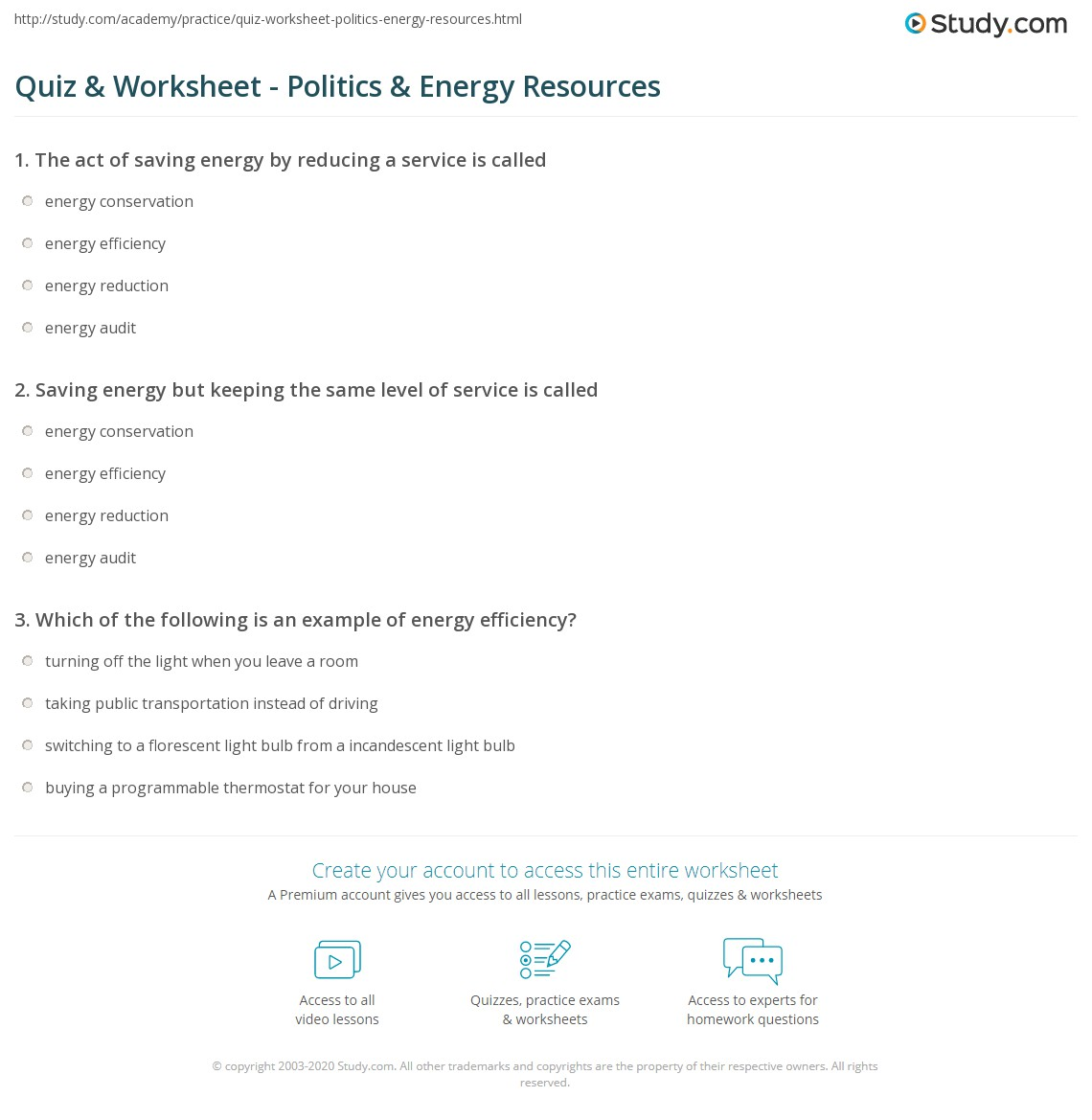 Quiz & Worksheet - Politics & Energy Resources | Study.com