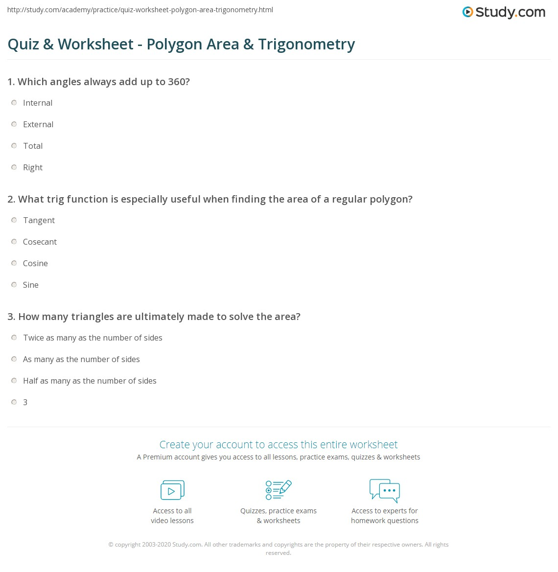 Quiz & Worksheet Polygon Area & Trigonometry Study Khan Academy Talent  Search Find The Height Of