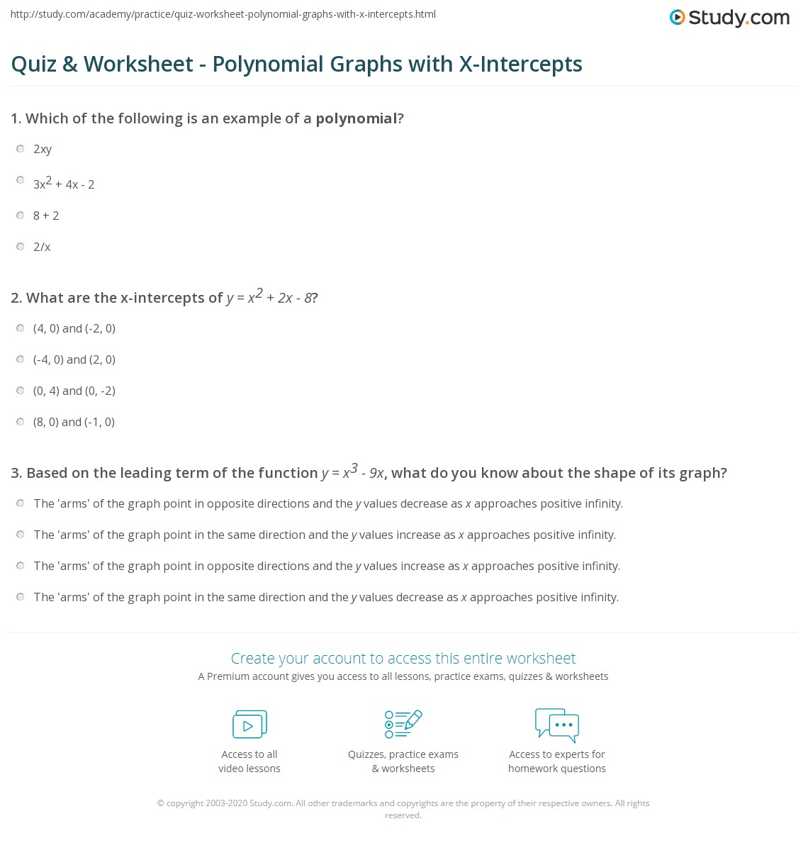 Worksheets Graphing Polynomial Functions Worksheet quiz worksheet polynomial graphs with x intercepts study com print using to graph functions worksheet