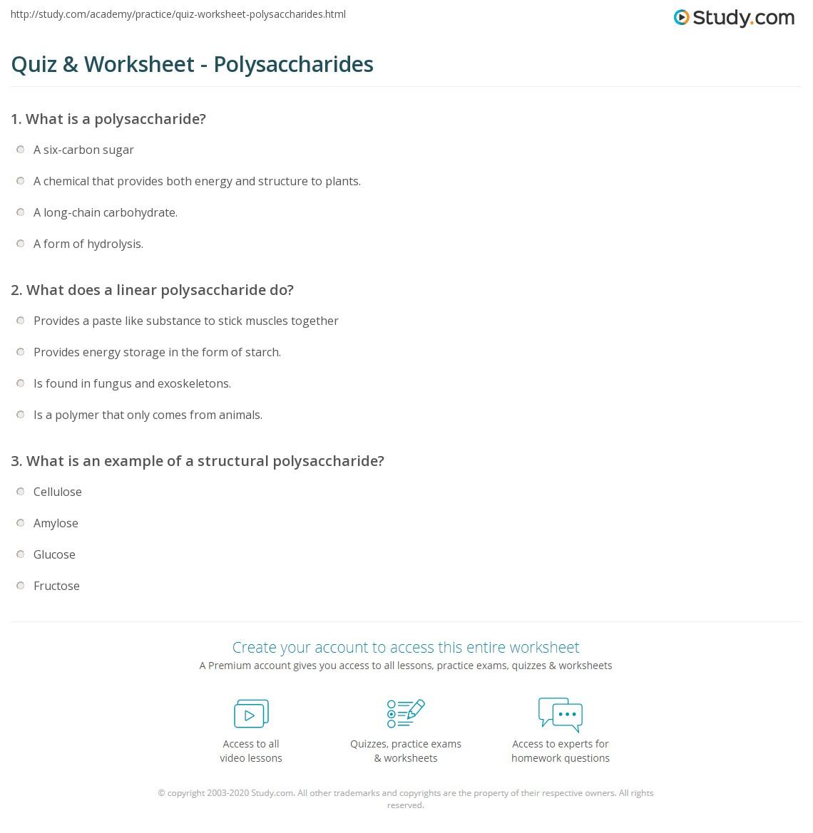 Quiz Worksheet Polysaccharides Study