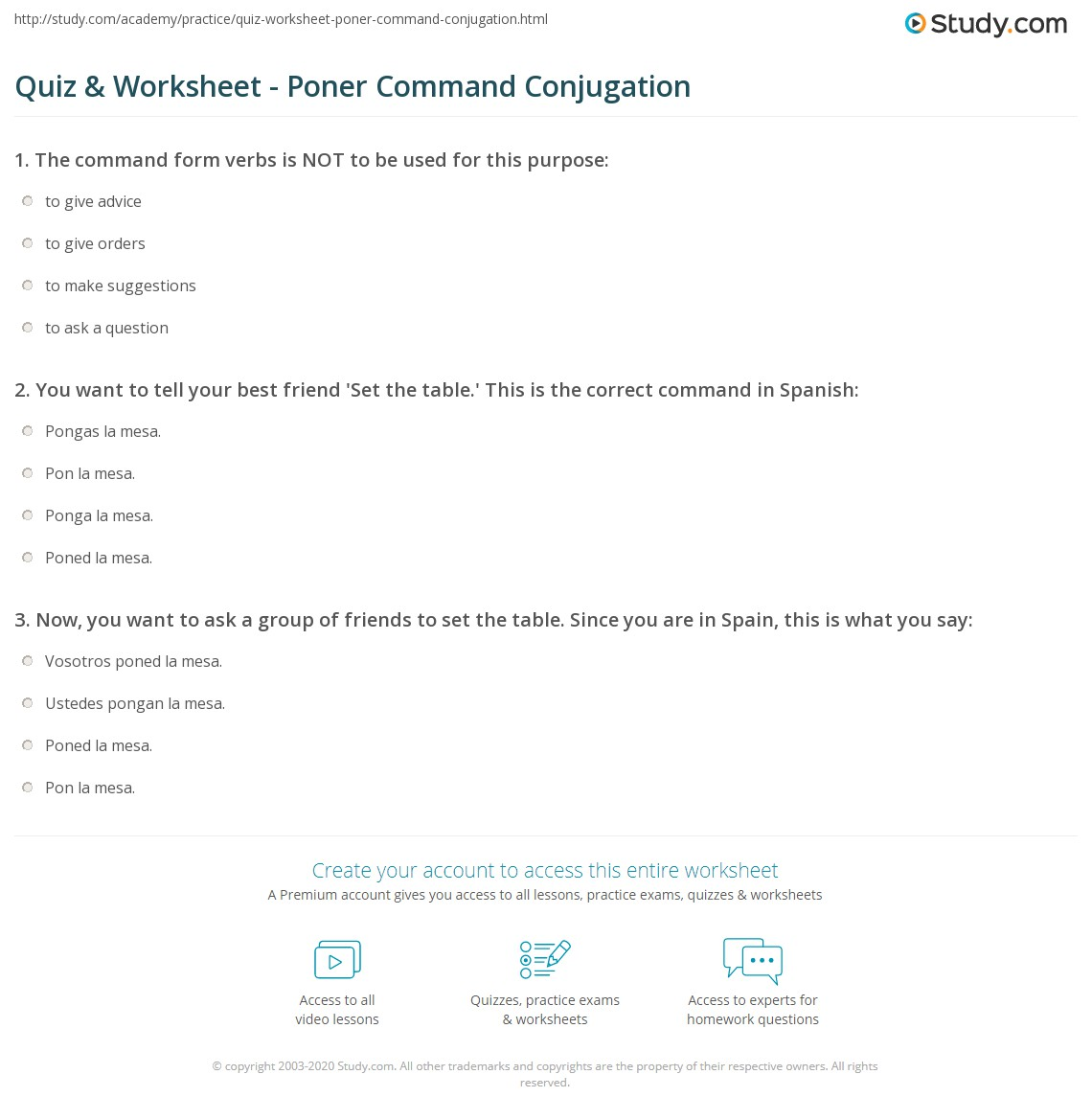 quiz amp worksheet poner command conjugation studycom