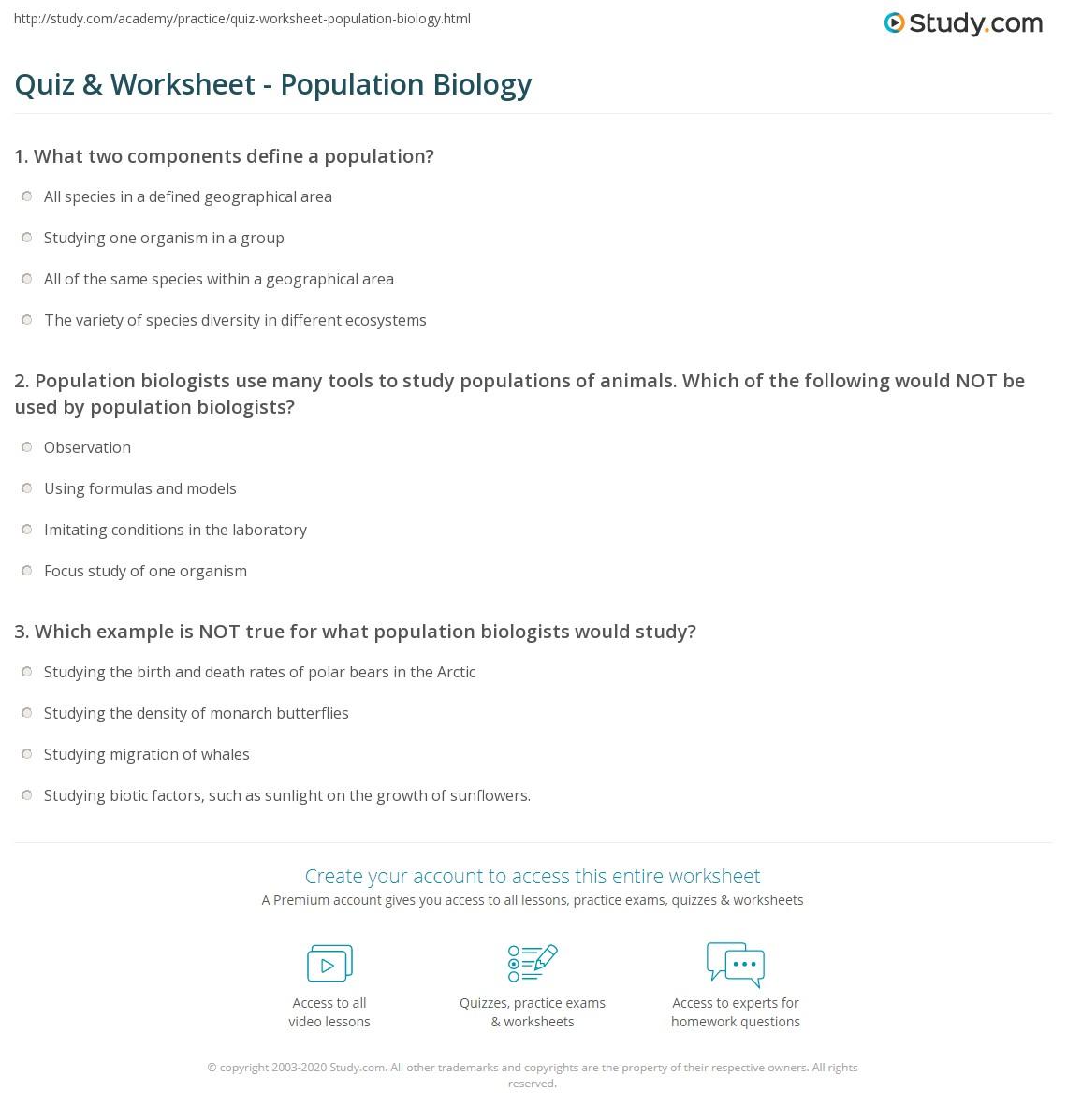 Quiz Amp Worksheet Population Biology Study Com