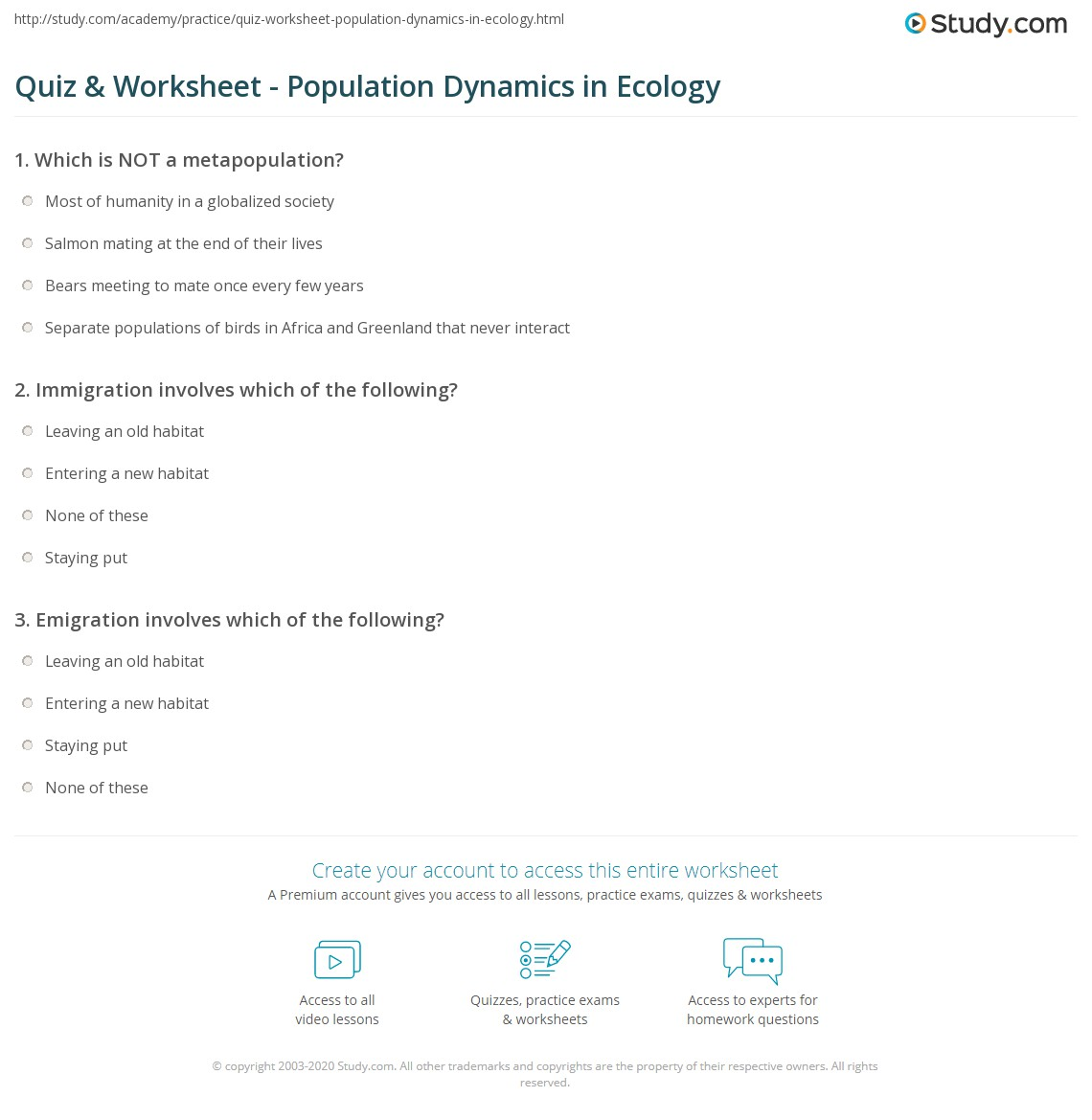 quiz & worksheet - population dynamics in ecology | study