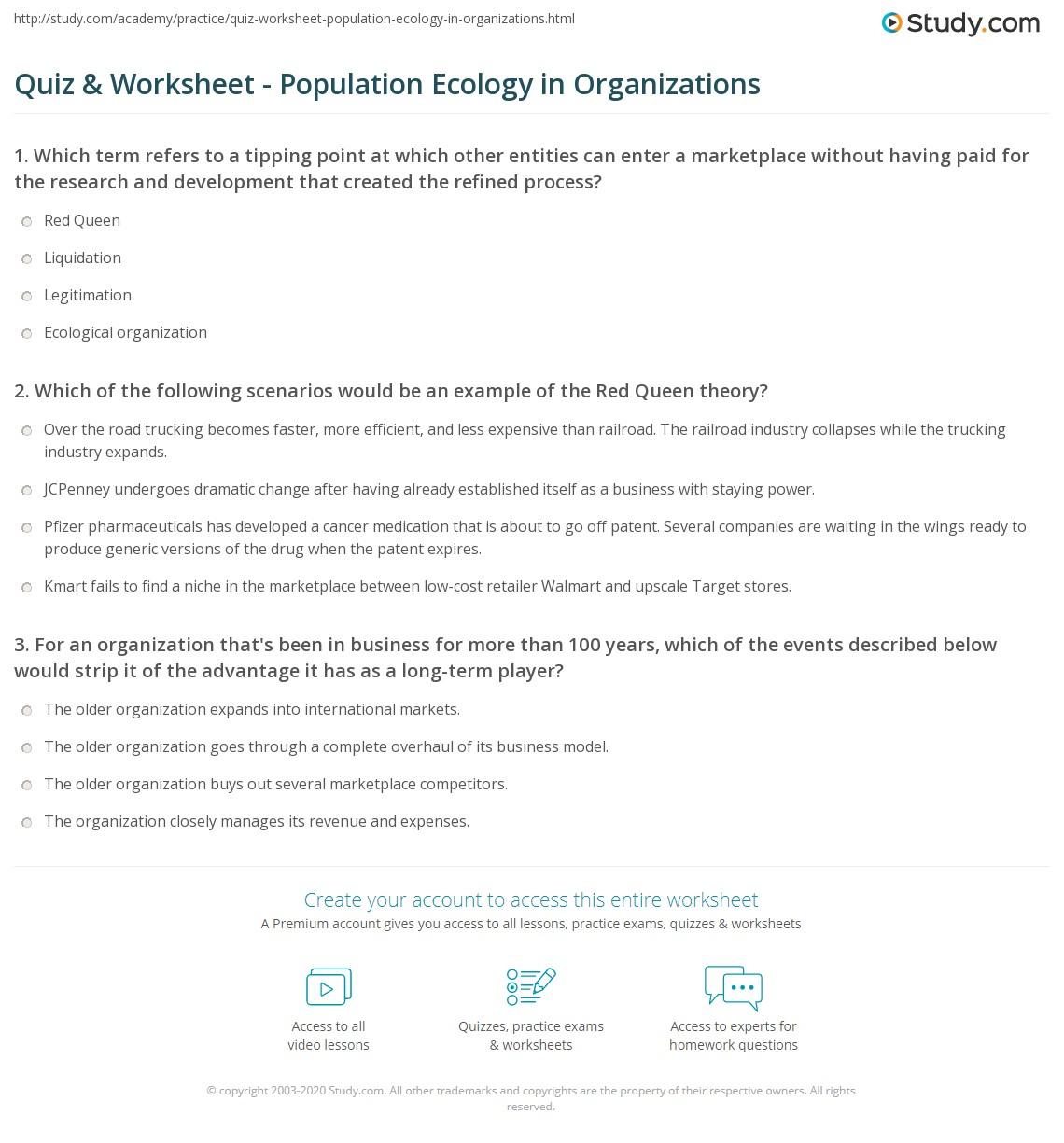 Quiz Amp Worksheet Population Ecology In Organizations