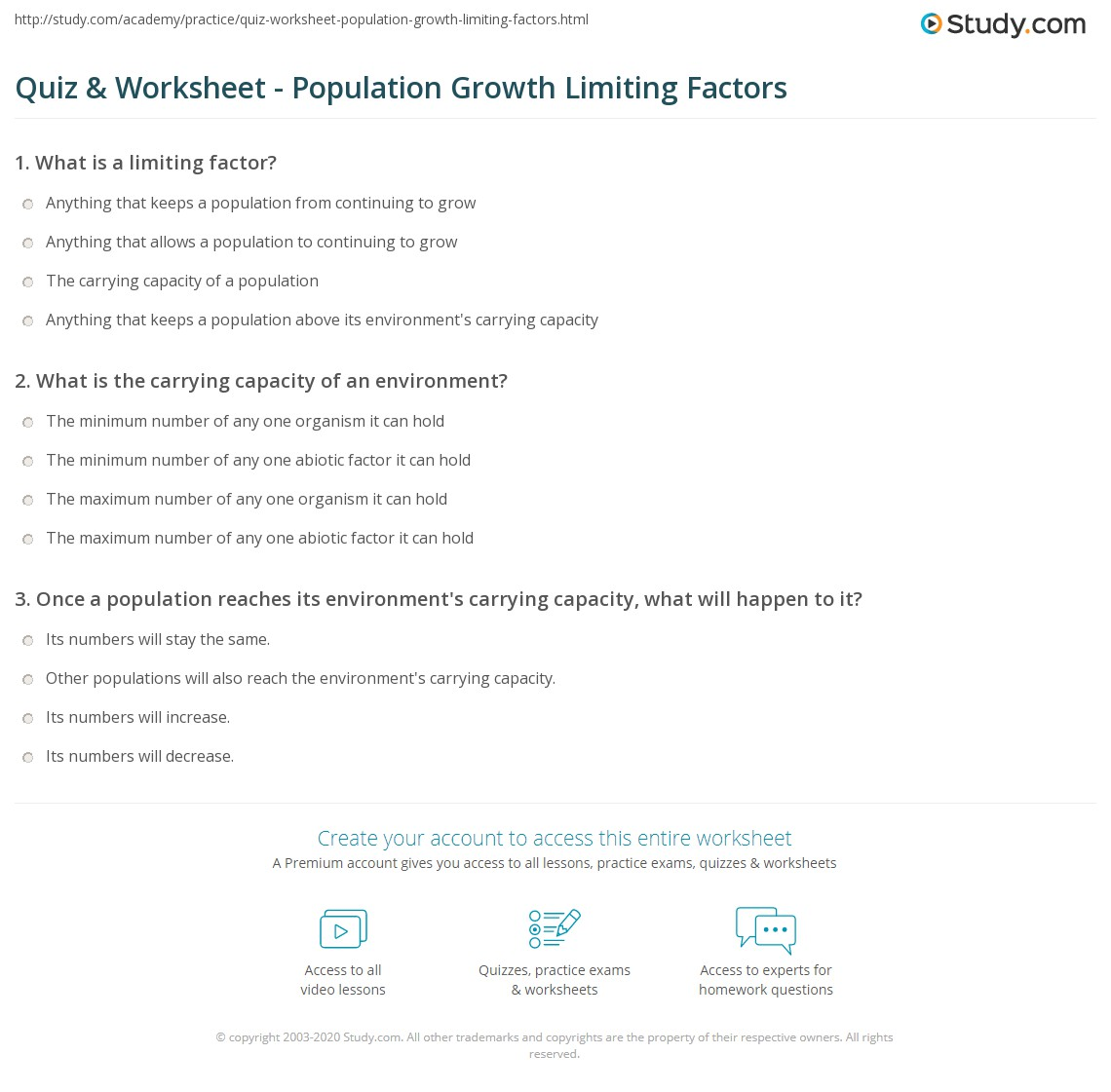 Quiz Worksheet Population Growth Limiting Factors Study