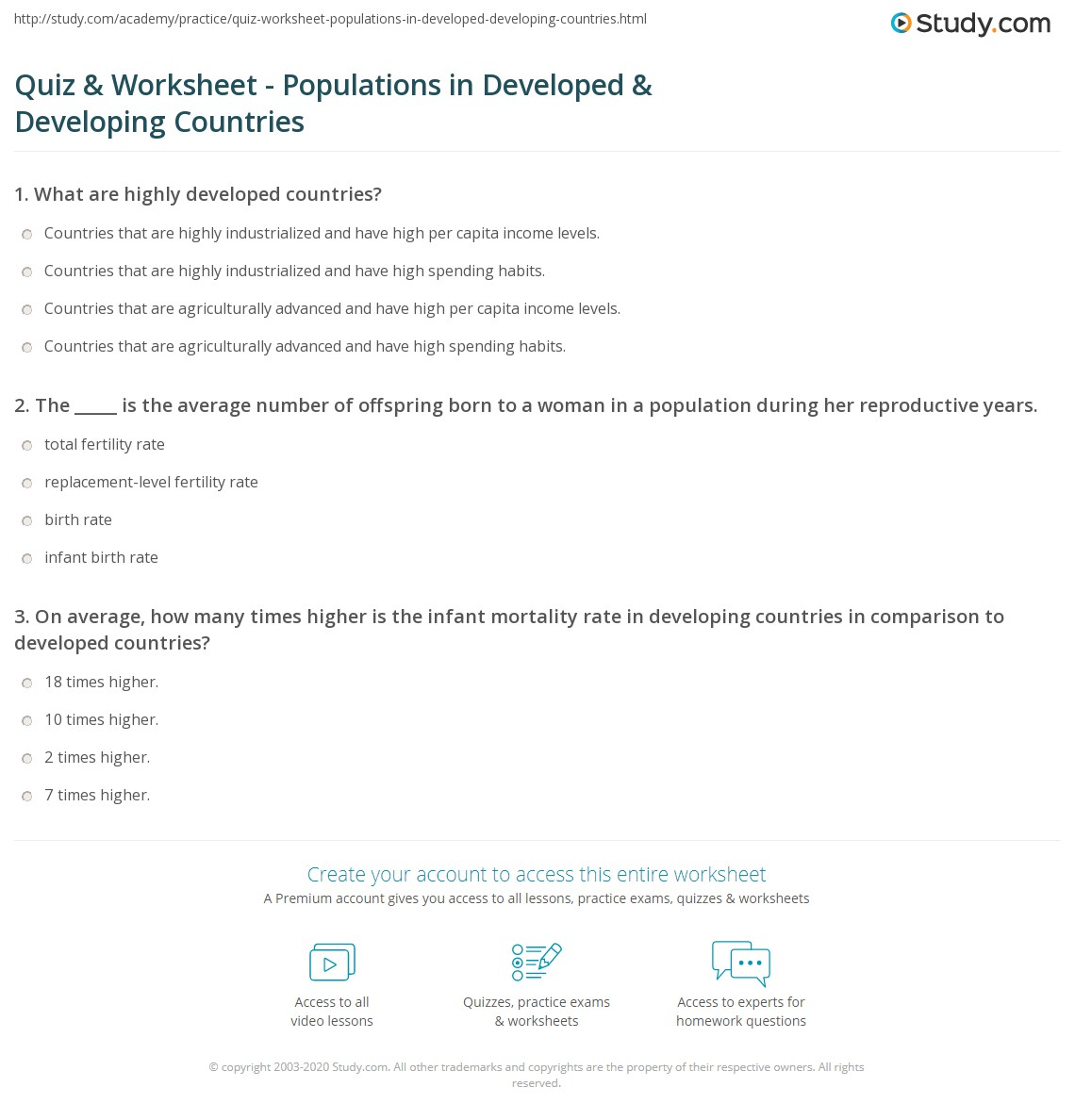 Quiz Worksheet Populations In Developed Developing Countries