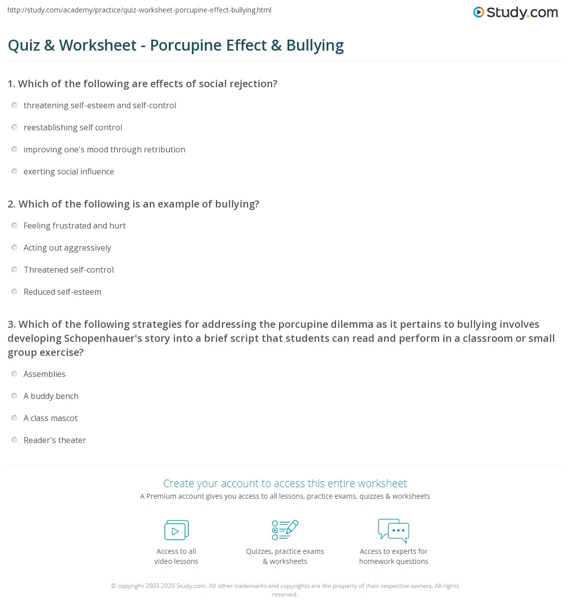 Quiz Worksheet Porcupine Effect Bullying Studycom