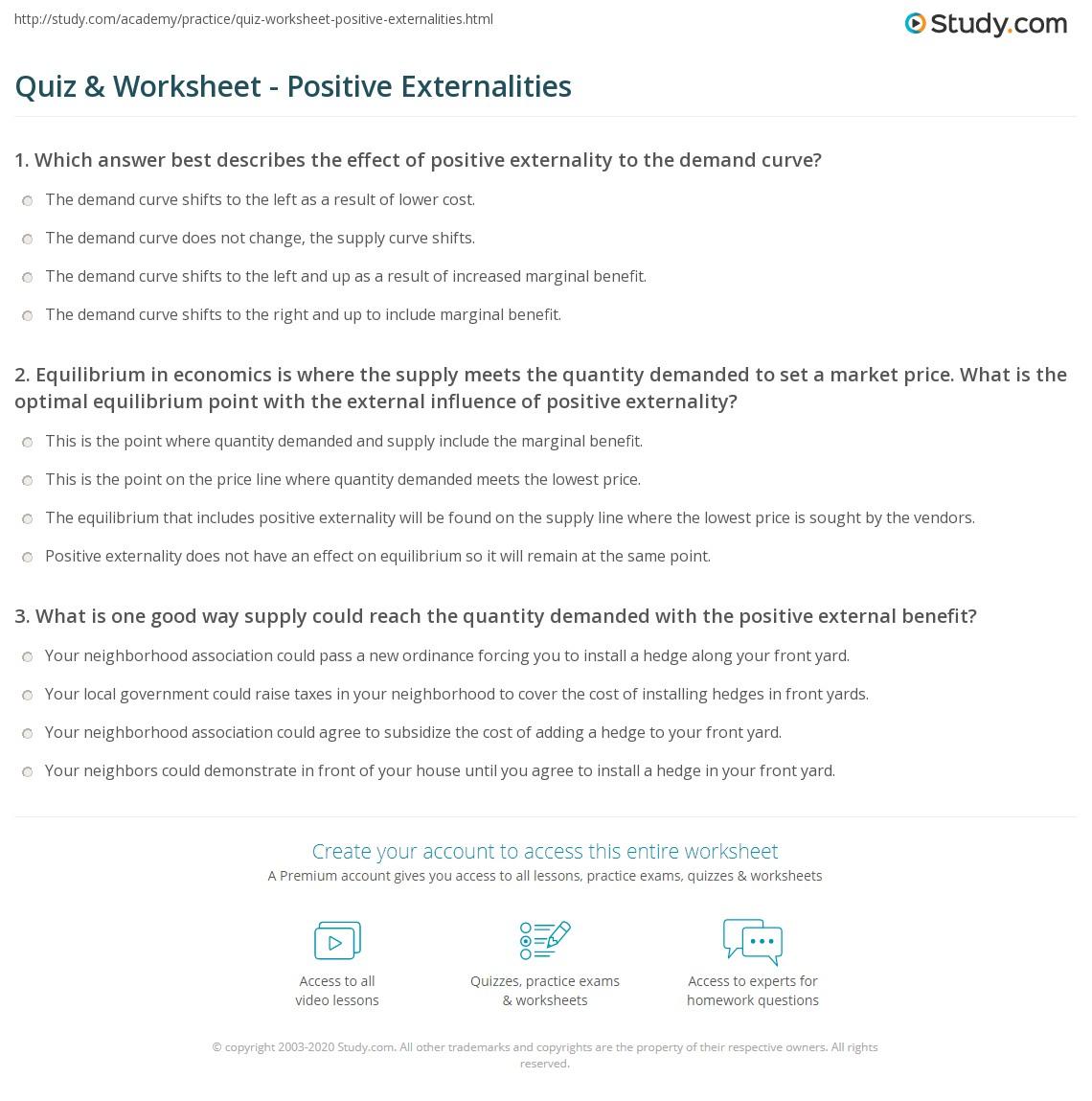 Quiz Worksheet Positive Externalities Study
