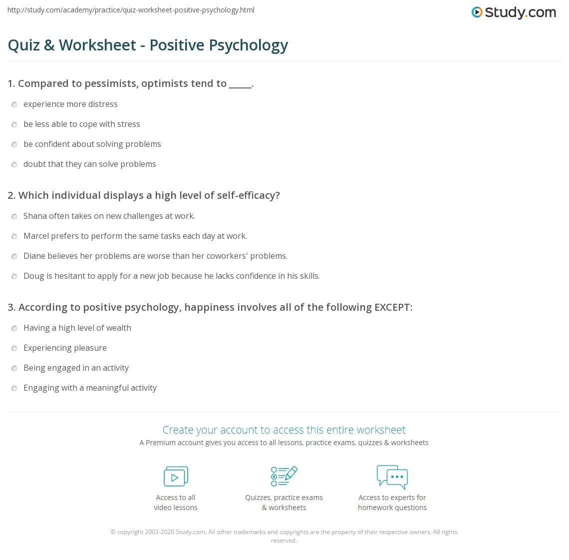 worksheet Positivity Worksheets quiz worksheet positive psychology study com print optimism self efficacy happiness worksheet
