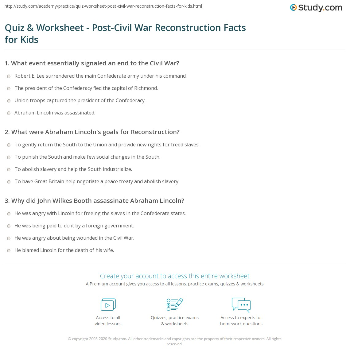 worksheet Reconstruction After The Civil War Worksheets quiz worksheet post civil war reconstruction facts for kids print after the lesson worksheet