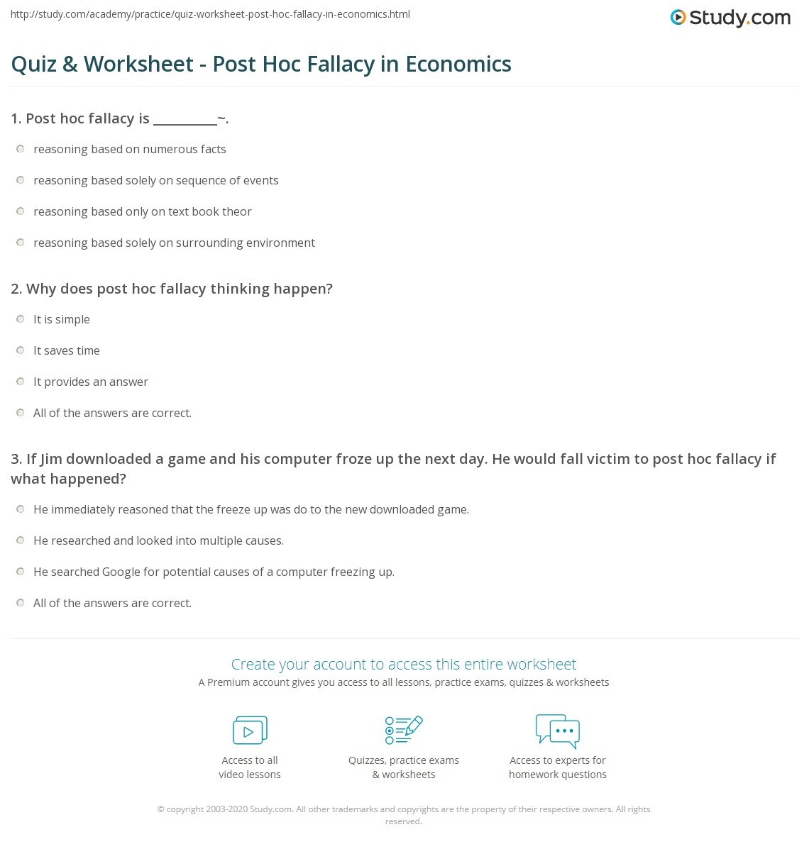Quiz & Worksheet - Post Hoc Fallacy In Economics