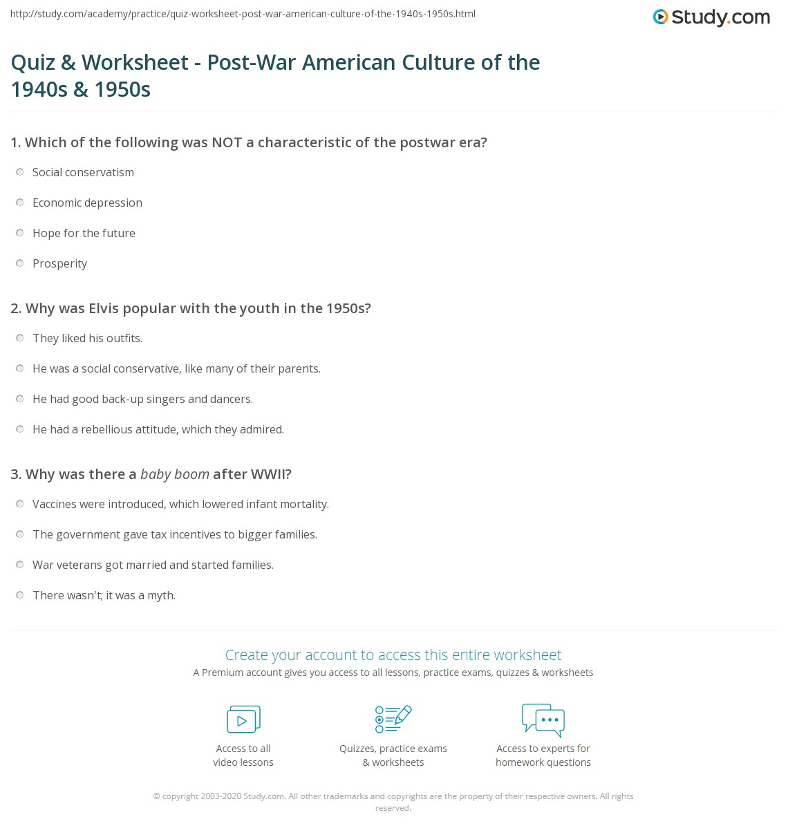 Quiz & Worksheet - Post-War American Culture of the 1940s & 1950s  math worksheets, education, printable worksheets, worksheets for teachers, and alphabet worksheets Currency Conversions Worksheet 2 1394 x 1140