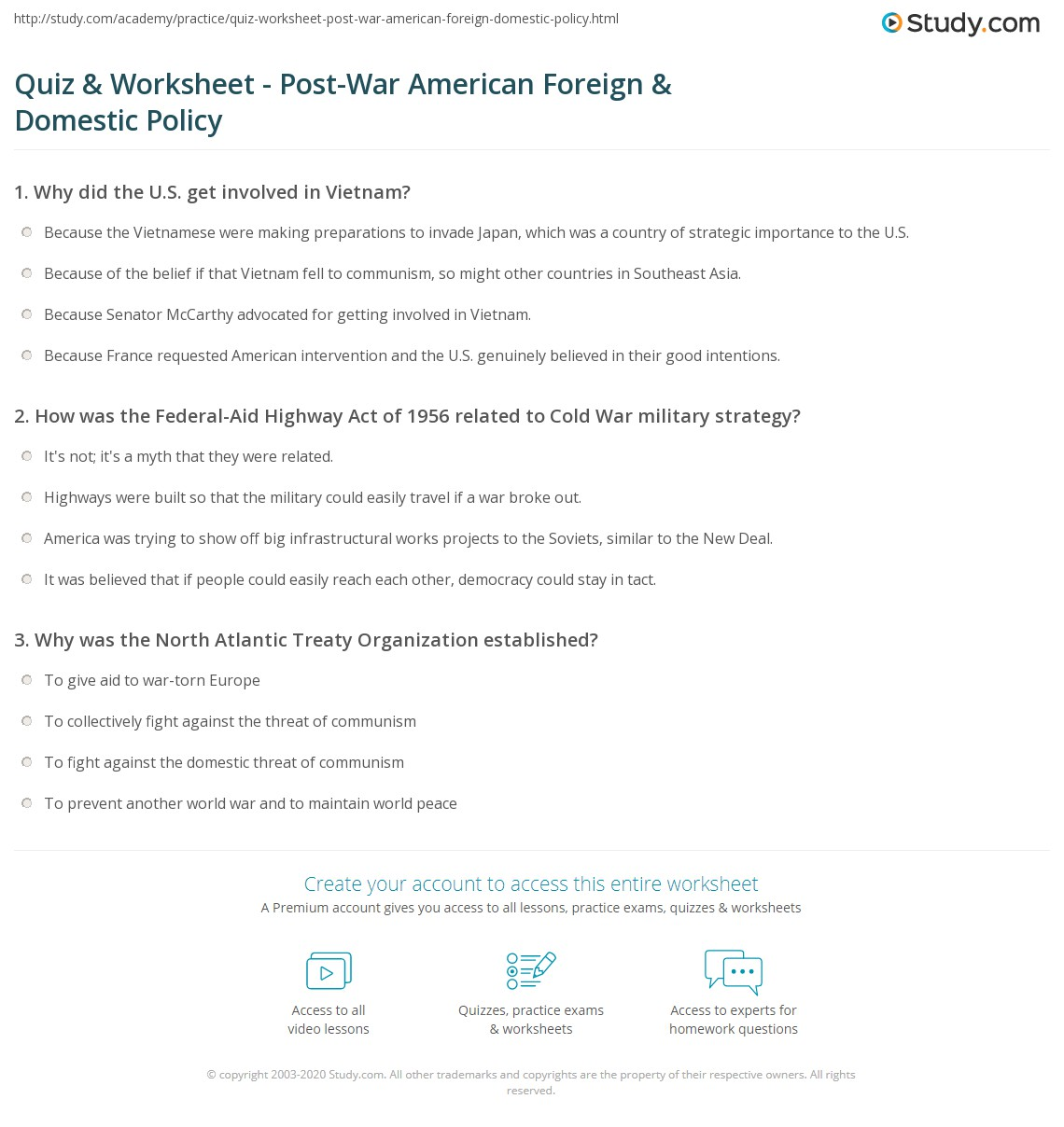 Quiz & Worksheet - Post-War American Foreign & Domestic Policy  math worksheets, education, printable worksheets, worksheets for teachers, and alphabet worksheets Currency Conversions Worksheet 2 1394 x 1140