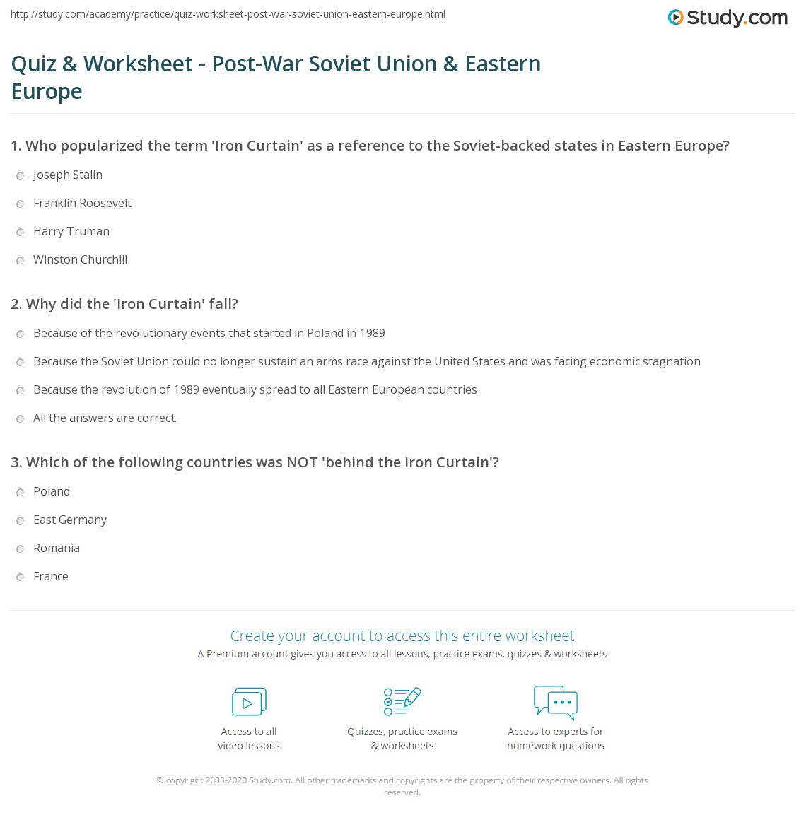quiz worksheet post war soviet union eastern europe. Black Bedroom Furniture Sets. Home Design Ideas