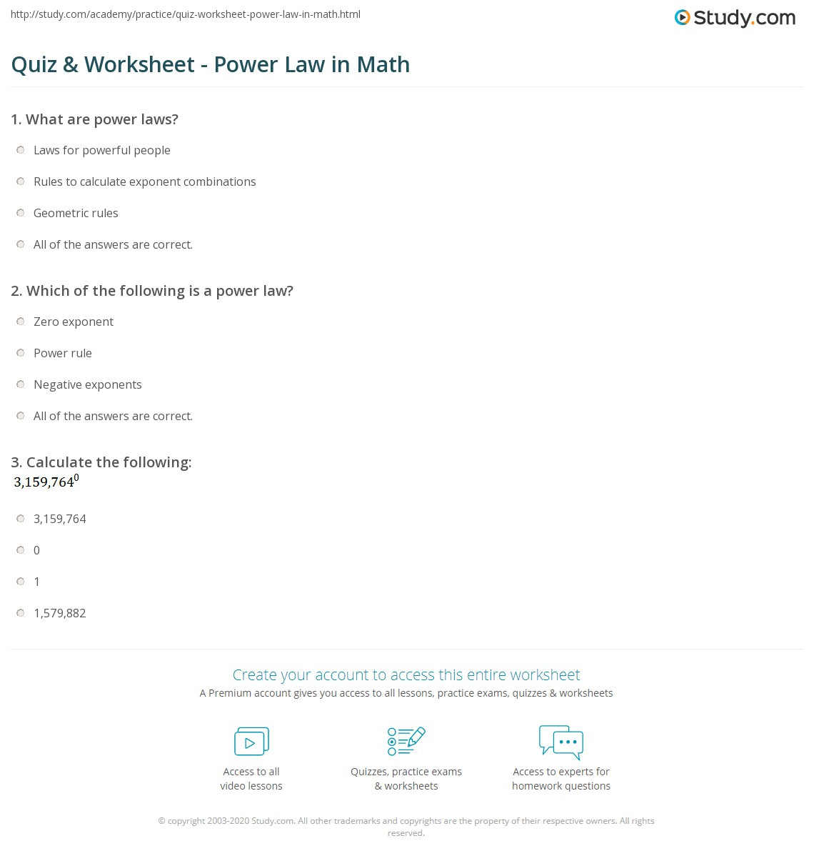 Quiz Worksheet Power Law In Math Study Com