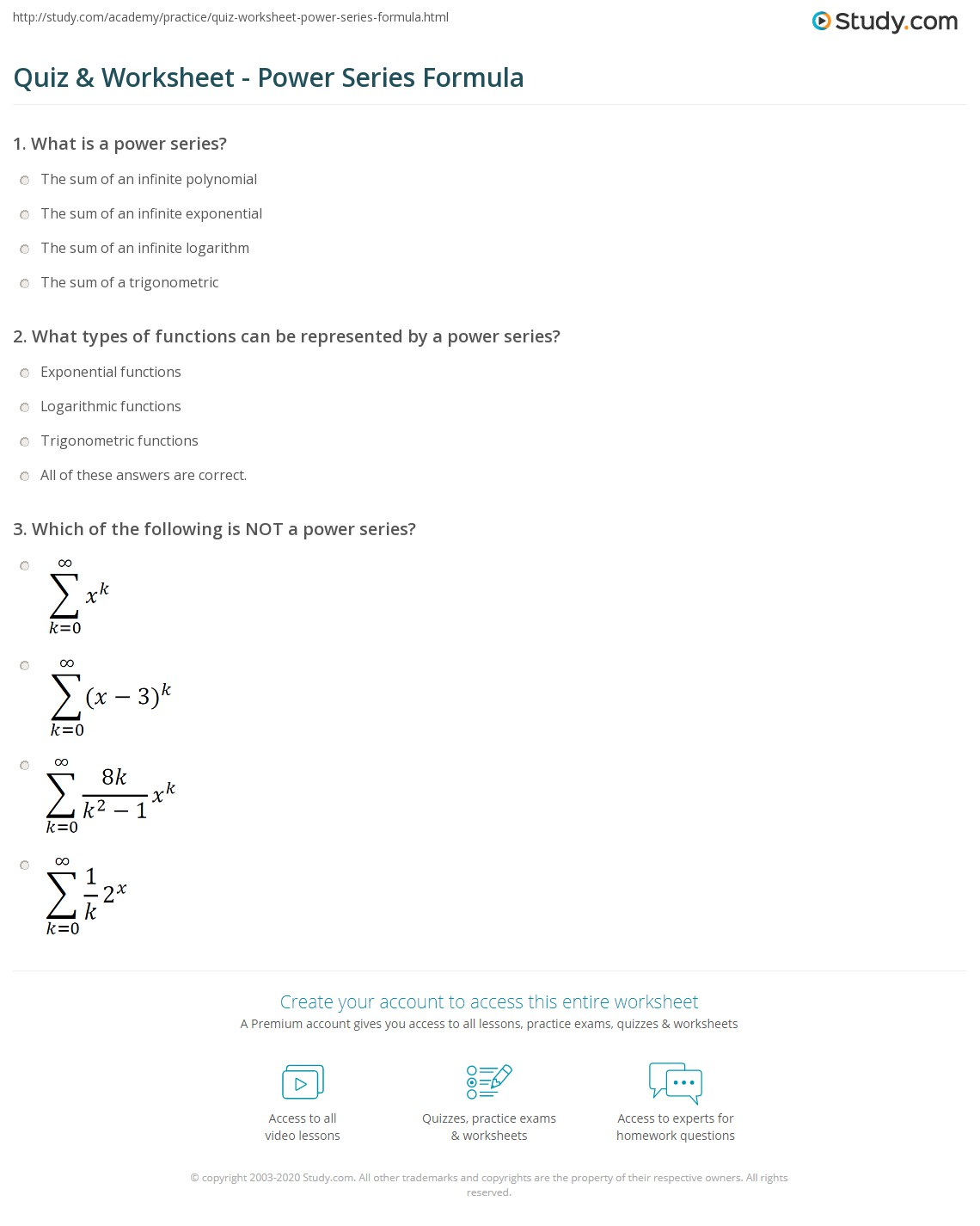 worksheet Power To A Power Worksheet quiz worksheet power series formula study com print examples worksheet