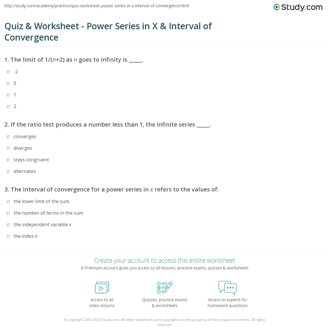 quiz worksheet power series in x interval of convergence. Black Bedroom Furniture Sets. Home Design Ideas
