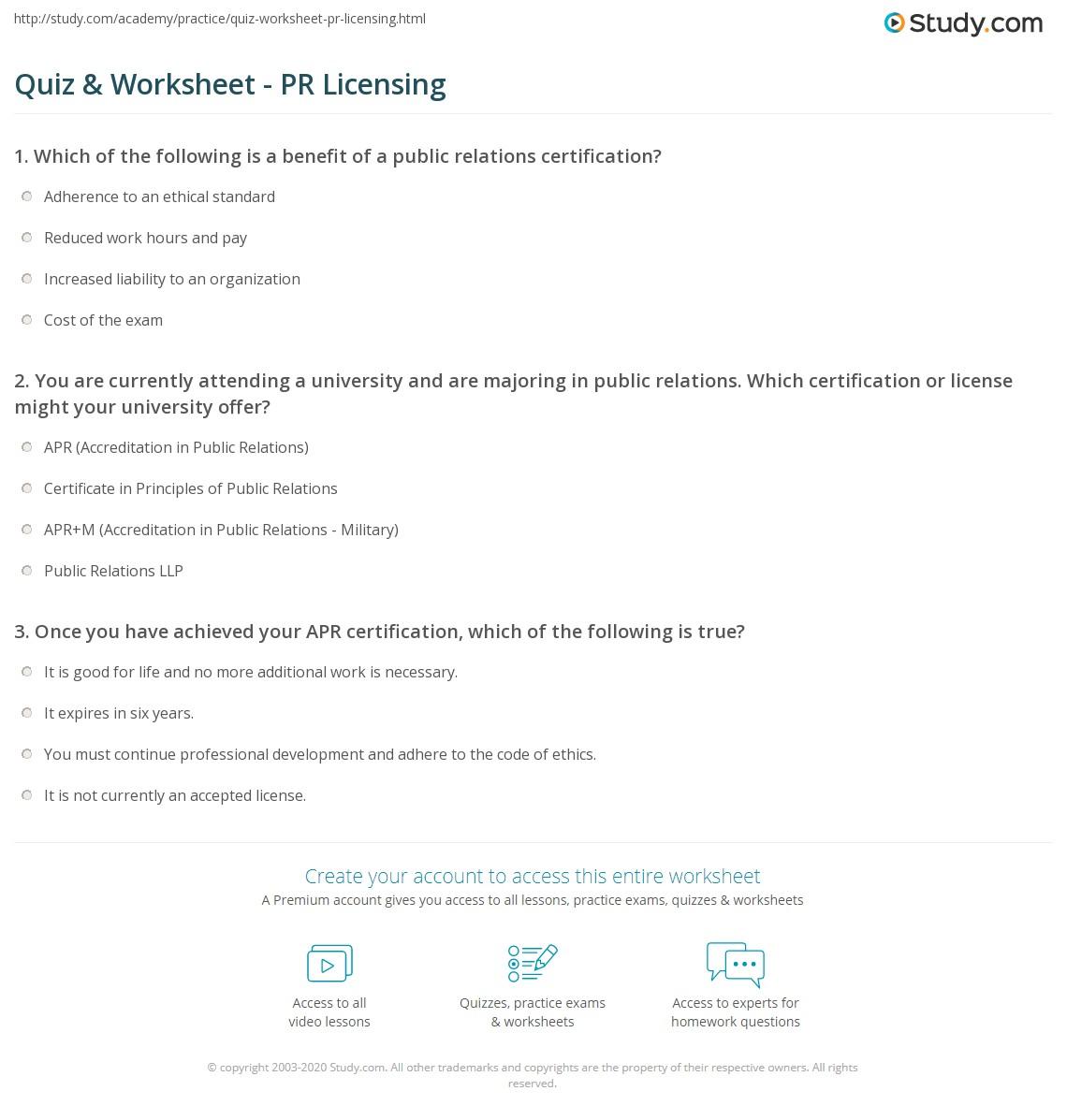 Quiz Worksheet Pr Licensing Study