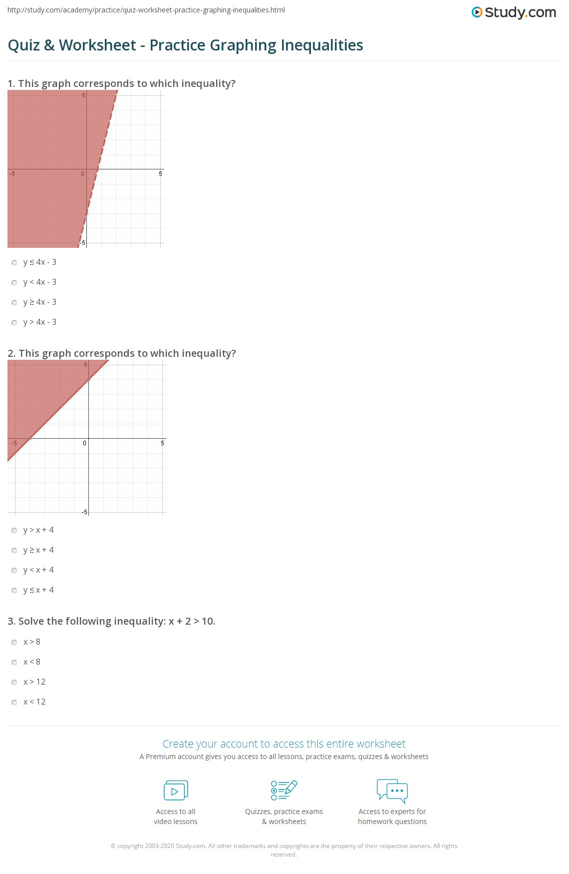 Quiz Worksheet Practice Graphing Inequalities Study