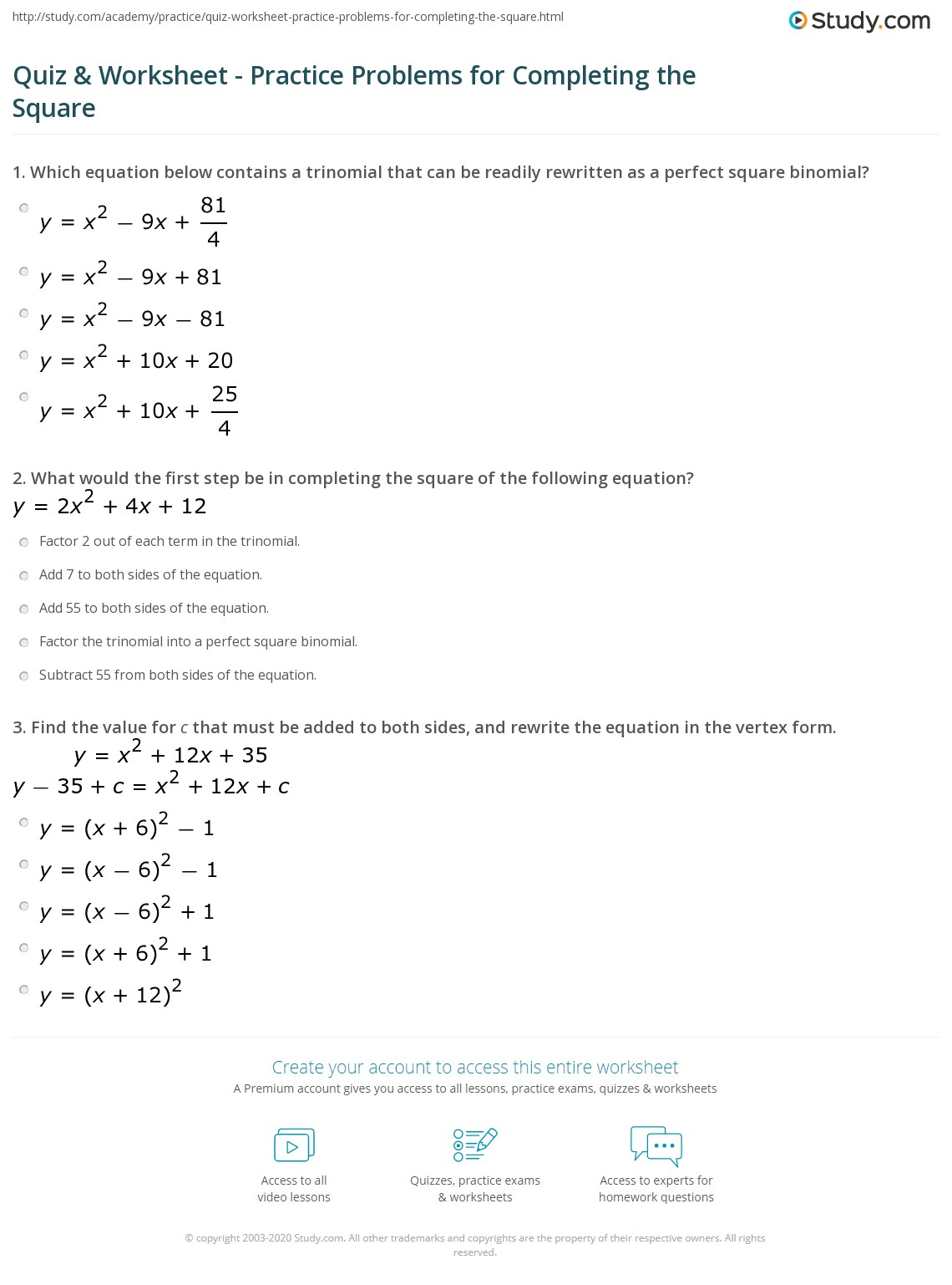 quiz worksheet practice problems for completing the square. Black Bedroom Furniture Sets. Home Design Ideas