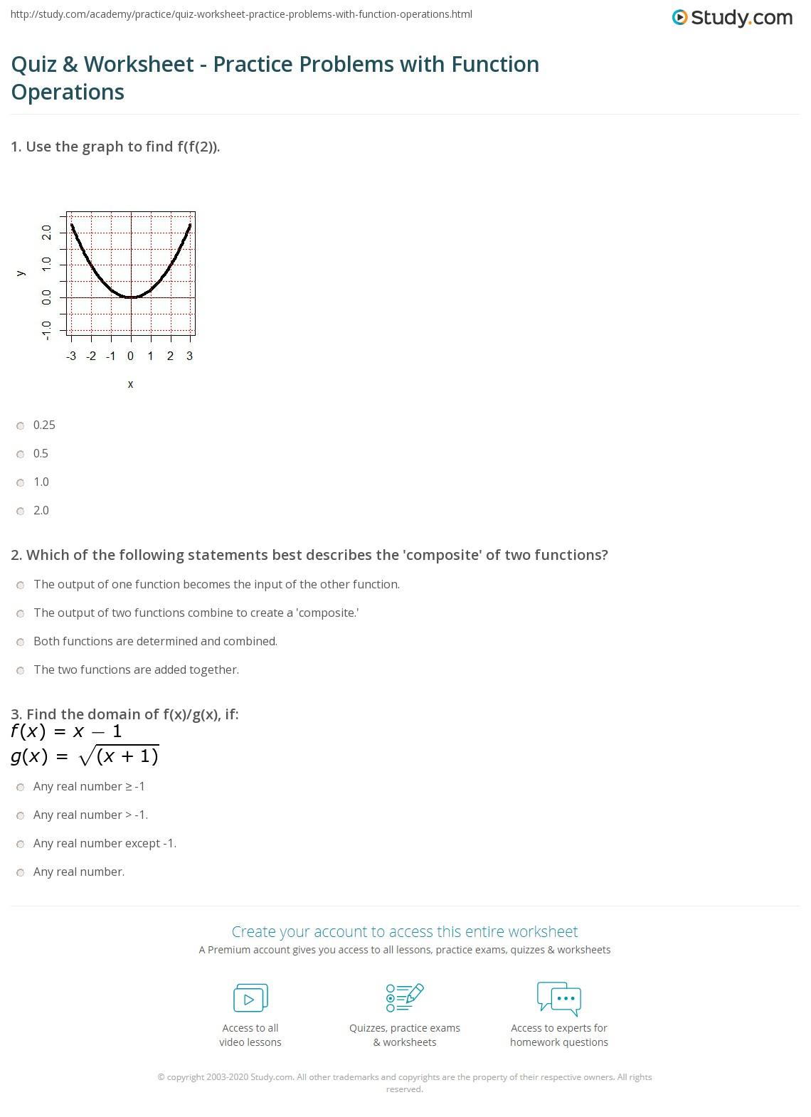 Quiz & Worksheet - Practice Problems with Function ...