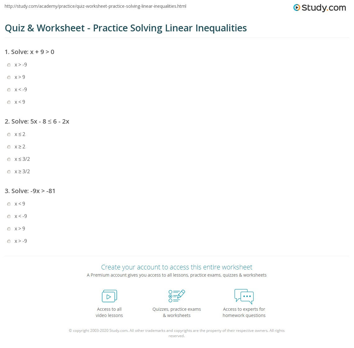 Quiz \u0026 Worksheet Practice Solving Linear Inequalities Study Com Writing Inequalities From Words Worksheet Print Solving Linear Inequalities Practice Problems Worksheet