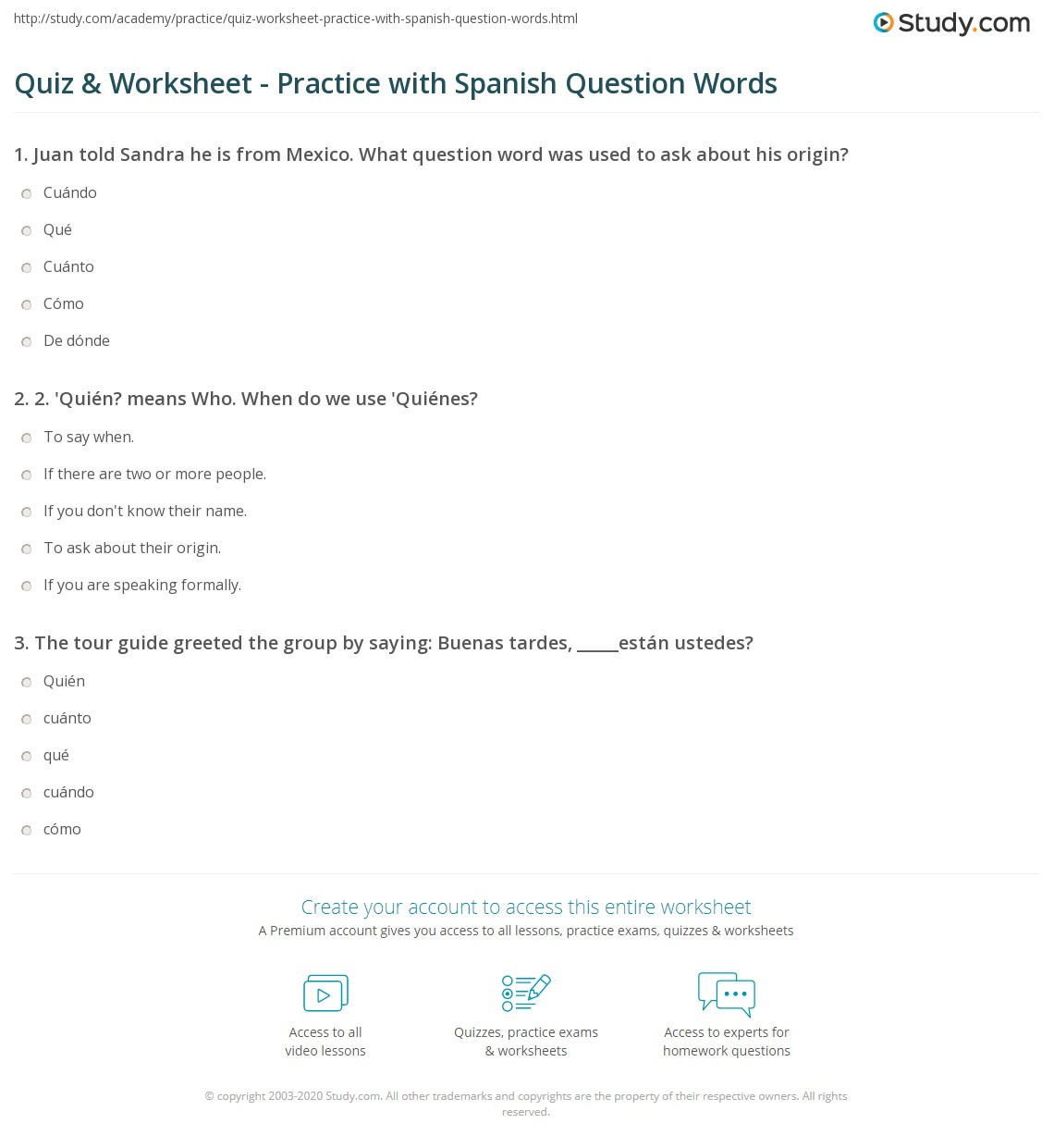 Quiz & Worksheet - Practice with Spanish Question Words | Study.com