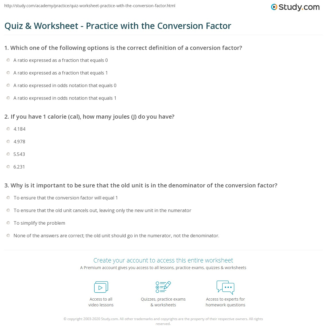 worksheet Conversion Practice Problems quiz worksheet practice with the conversion factor study com print in chemistry definition formula problems worksheet