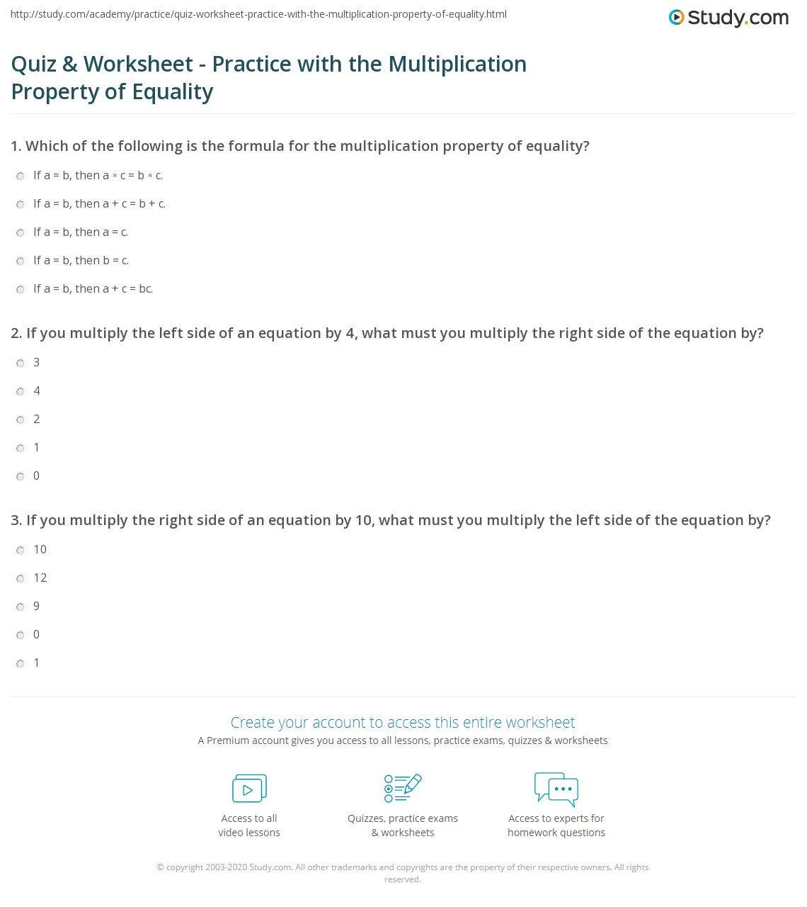 Quiz Worksheet Practice With The Multiplication Property Of