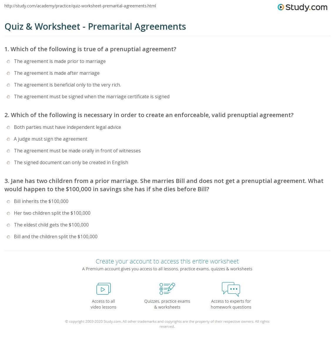 Quiz Worksheet Premarital Agreements Study