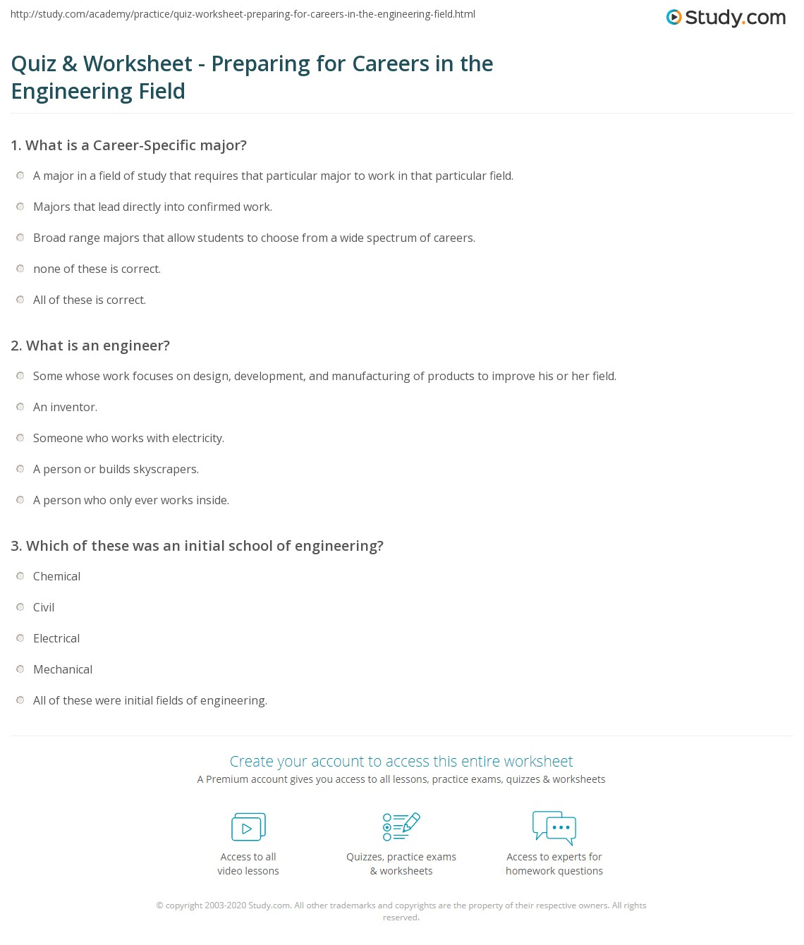 quiz worksheet preparing for careers in the engineering field print careers in the engineering field typical courses degrees worksheet