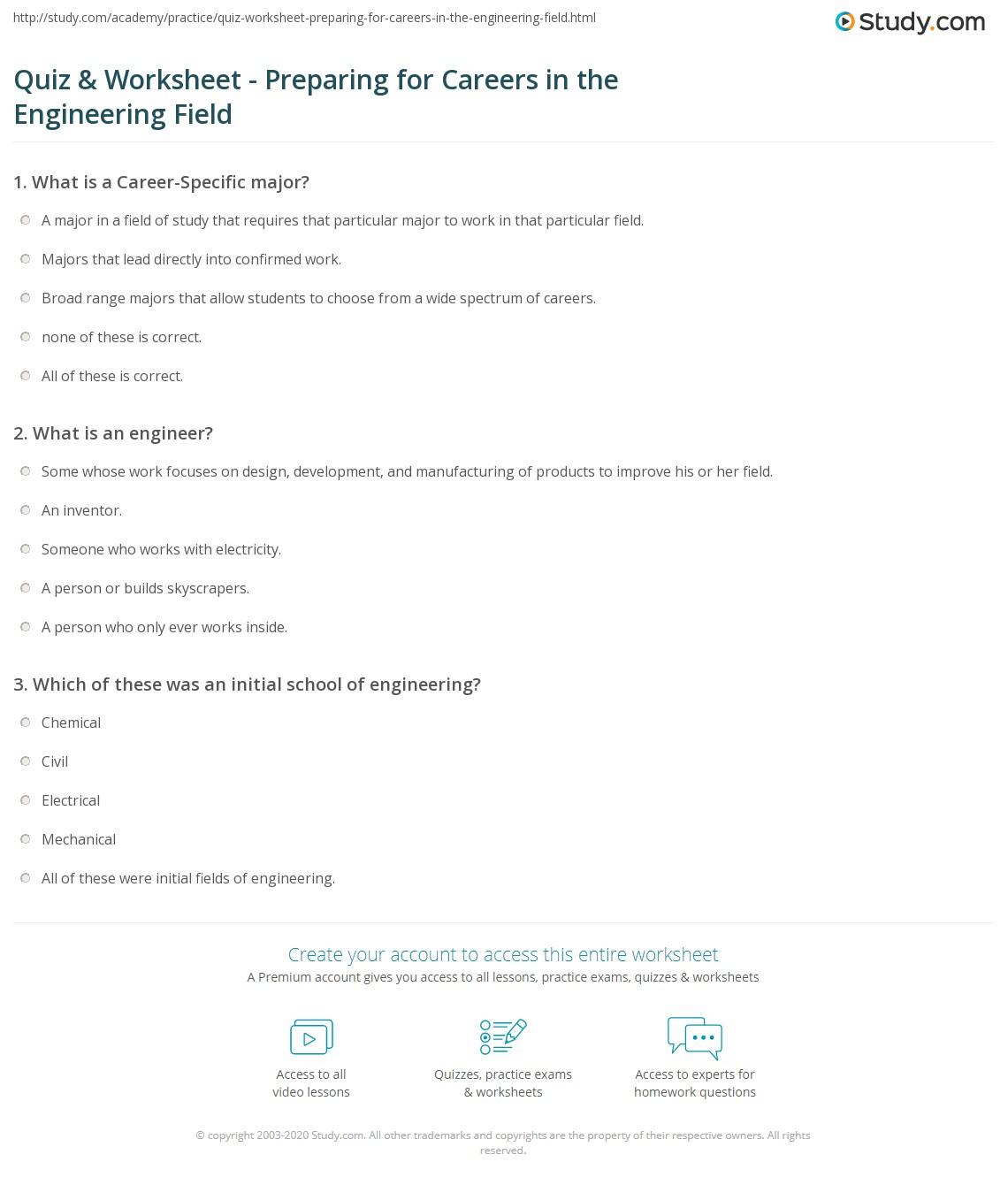 Quiz Worksheet Preparing for Careers in the Engineering Field – Career Worksheets