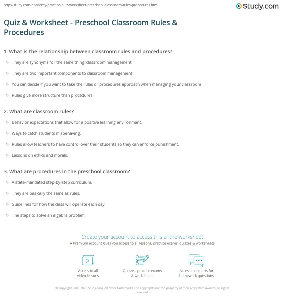 quiz worksheet preschool classroom rules procedures. Black Bedroom Furniture Sets. Home Design Ideas