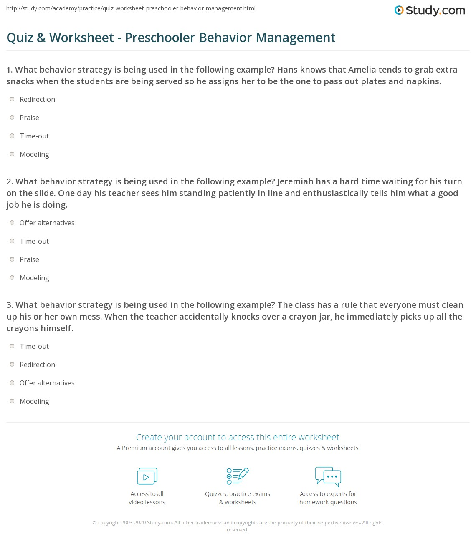 Behavior worksheets for preschoolers