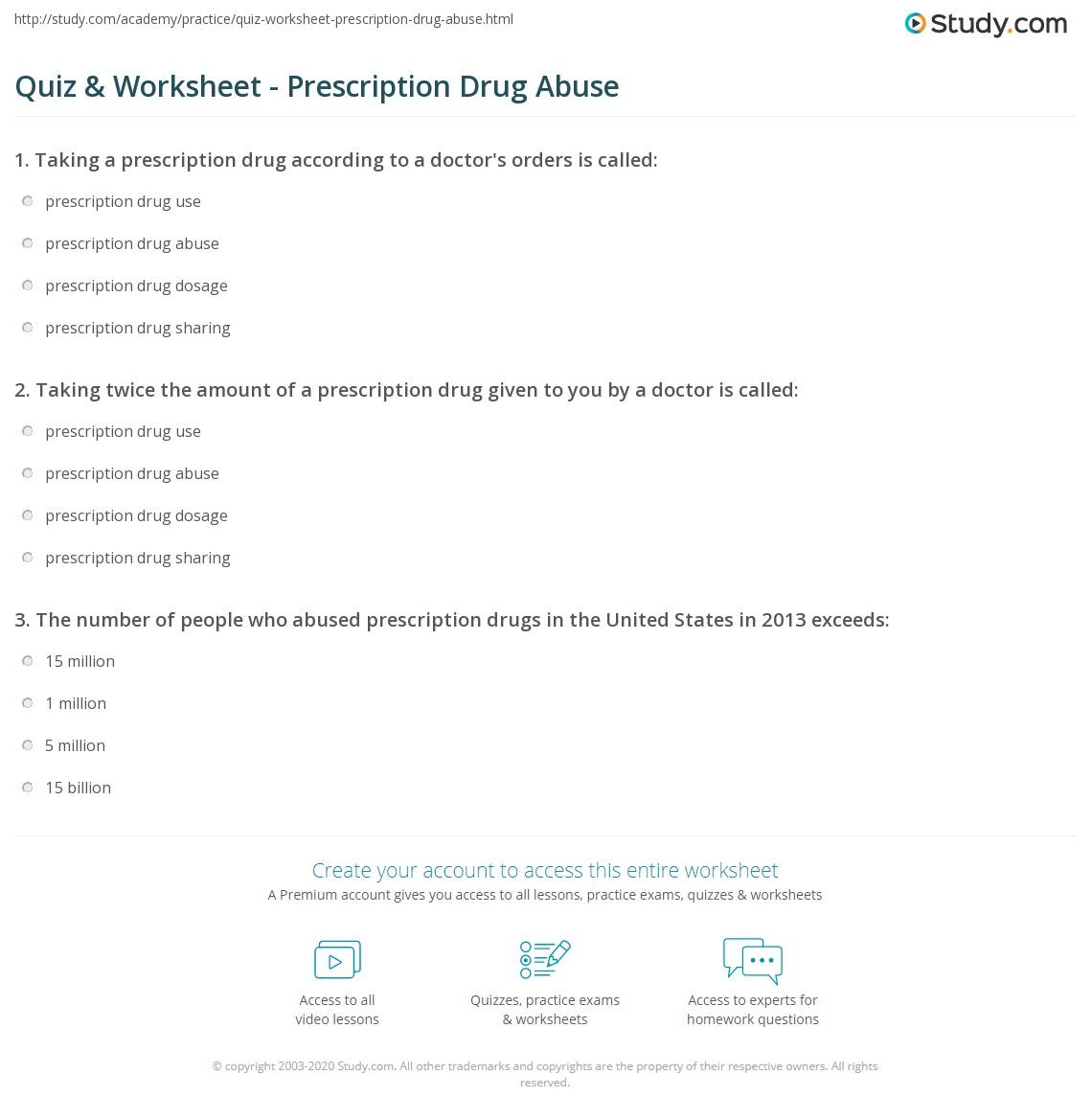 worksheet Substance Abuse Worksheets For Adults quiz worksheet prescription drug abuse study com print definition examples worksheet