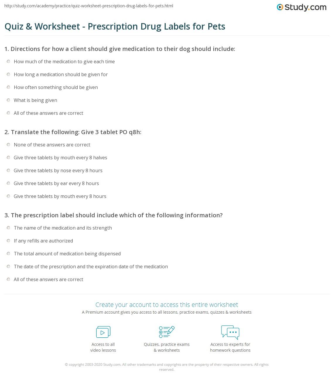 quiz worksheet prescription drug labels for pets. Black Bedroom Furniture Sets. Home Design Ideas