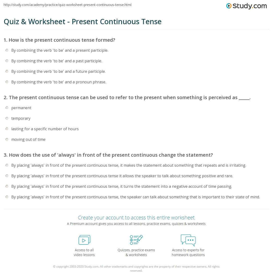 Quiz Worksheet Present Continuous Tense – Present Progressive Spanish Worksheet