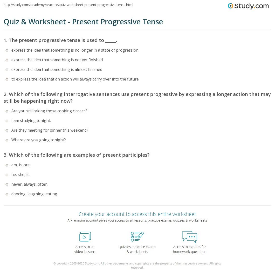 Quiz & Worksheet - Present Progressive Tense | Study.com