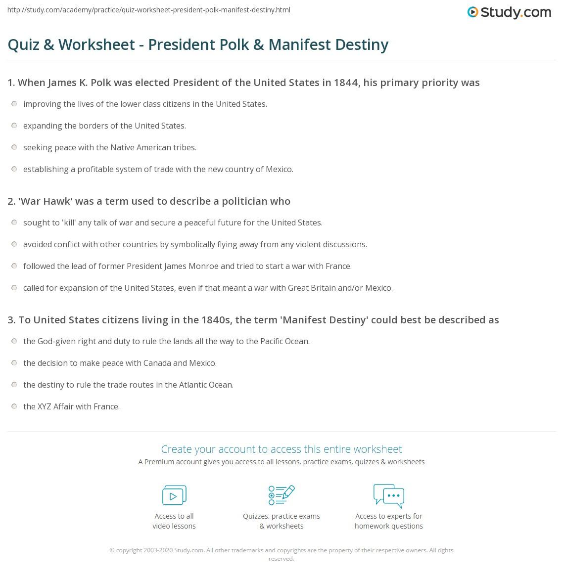 Quiz & Worksheet - President Polk & Manifest Destiny | Study.com
