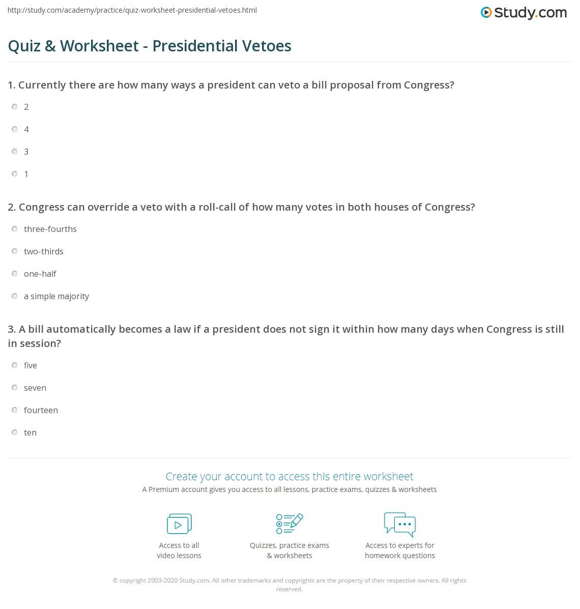 Quiz Worksheet Presidential Vetoes Study