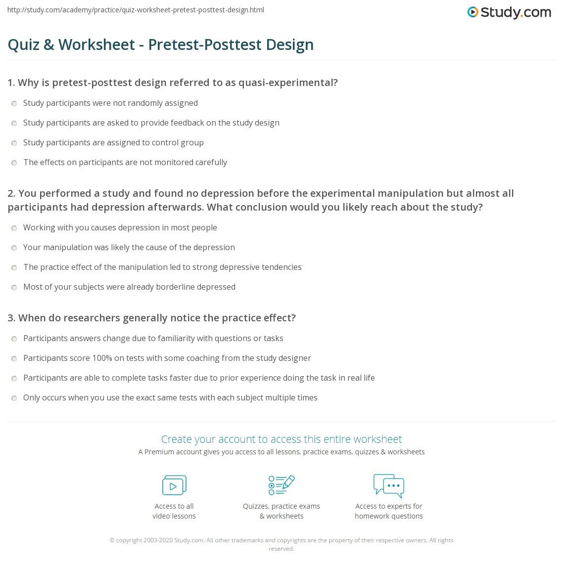 Quiz Worksheet PretestPosttest Design – Designing an Experiment Worksheet
