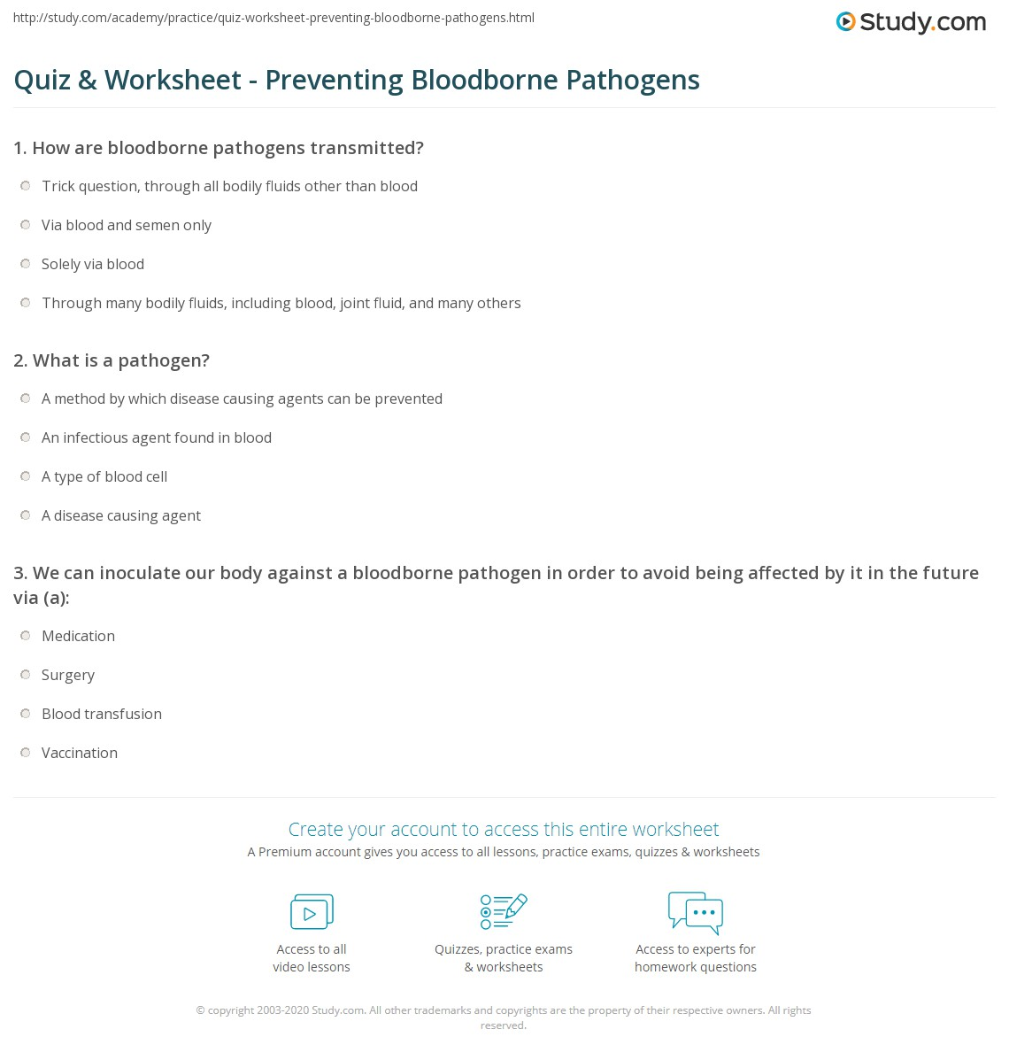 Quiz worksheet preventing bloodborne pathogens study print prevention of bloodborne pathogens worksheet xflitez Gallery