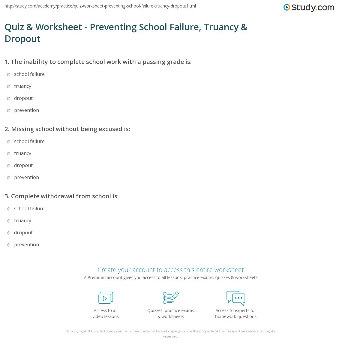 Quiz & Worksheet - Preventing School Failure, Truancy & Dropout ...