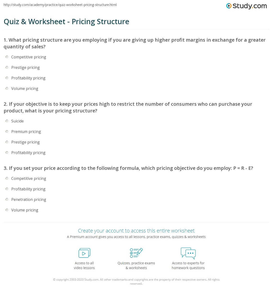 Pricing Structure: Quiz & Worksheet - Pricing Structure