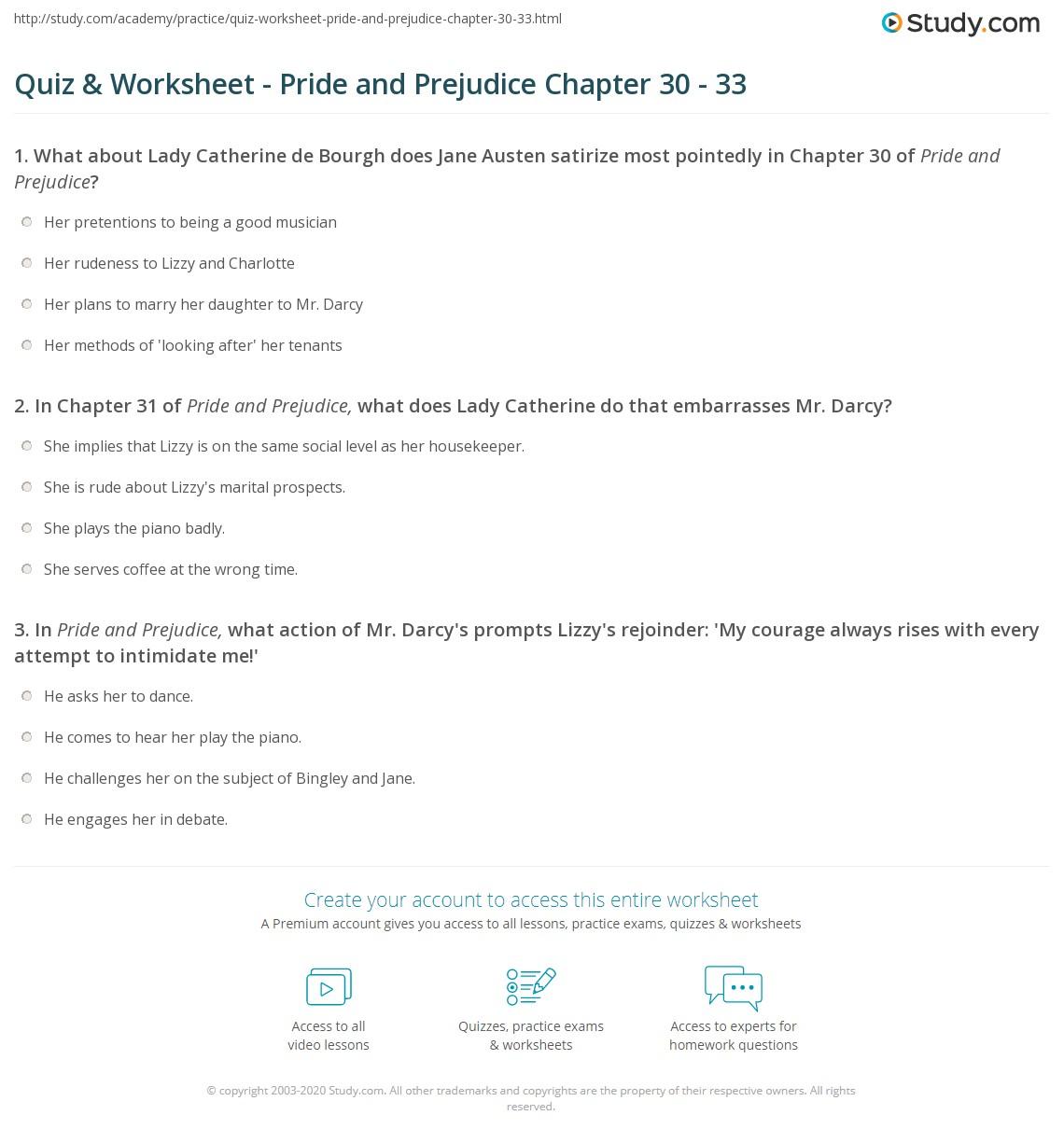 quiz worksheet pride and prejudice chapter 30 33 study com rh study com pride and prejudice study guide answers volume 1 pride and prejudice study guide answers volume 2