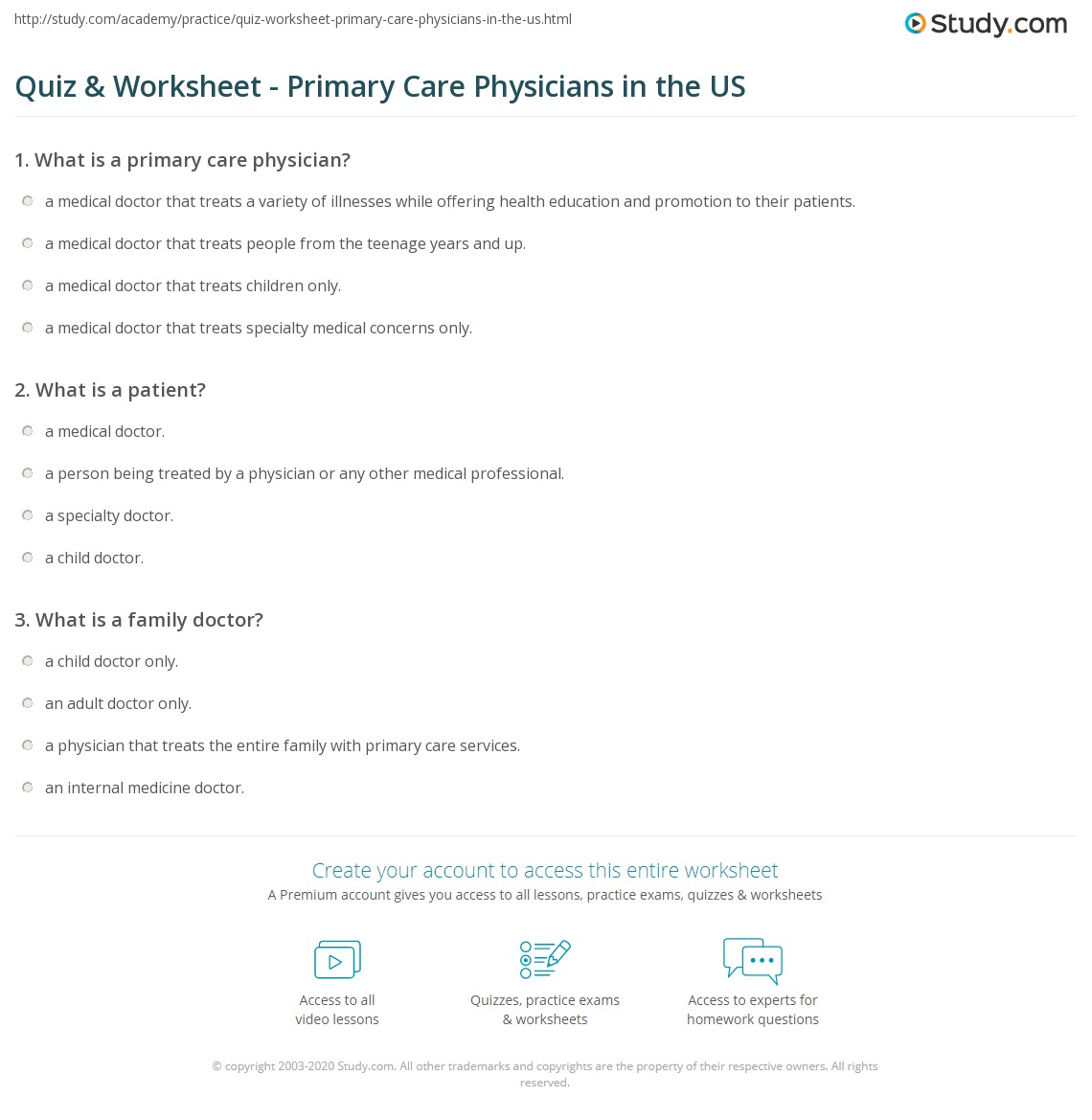 quiz & worksheet - primary care physicians in the us   study