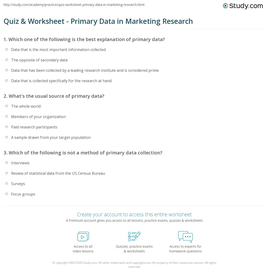 quiz & worksheet - primary data in marketing research | study