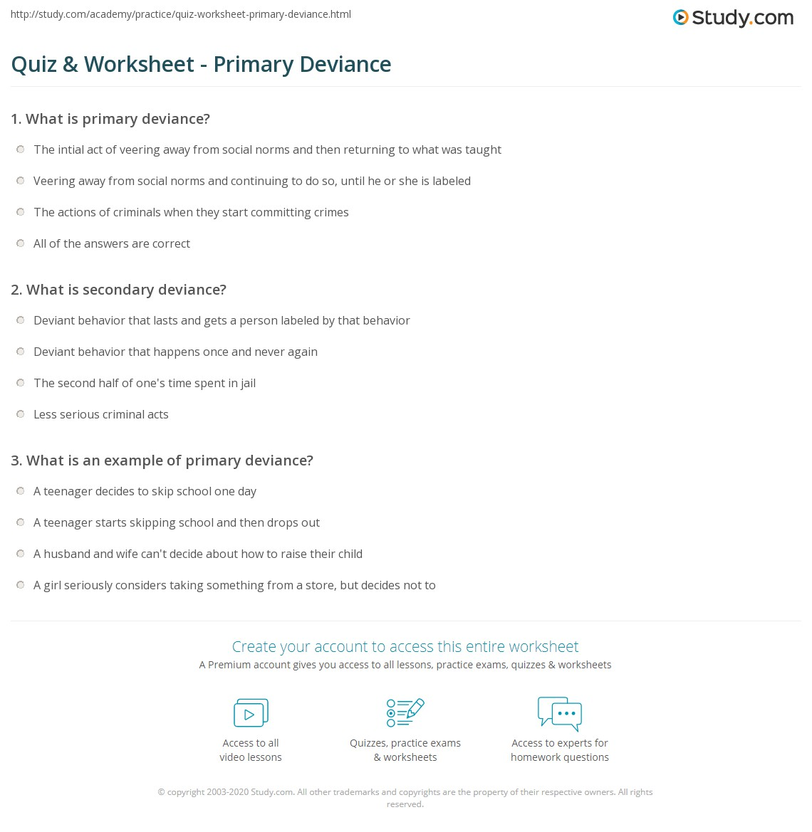 Quiz & Worksheet - Primary Deviance